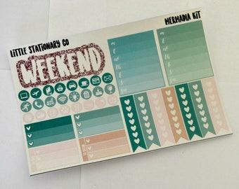 Vertical Planner Sticker Kit for use with Erin Condren LifePlanner- Mermadia Kit