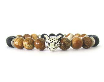 Men's Bracelet - Leopard Bracelet - Beaded Stretch Bracelet - Men's Jewelry - Gemstone Bracelet - Leopard Jewelry - Rugged Bracelet - M04071