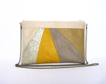Yellow and taupe clutch, Mustard yellow and beige handbag