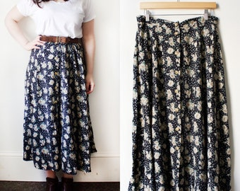 Vintage 90s Black Floral Button Front Midi Skirt Size Large