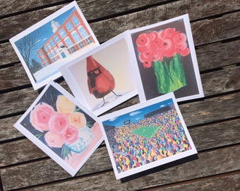 Set of 5 Original Painting Note Cards