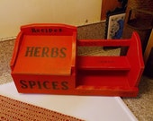 Wood Recipe box, Spice rack, Spices Recipes Herbs, kitchen storage, wood container, primitive kitchen, farmhouse decor, Mother's Day gift
