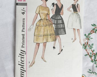 Vintage dress pattern, Simplicity 4595, prom dress, size bust 36 inches, 1960s,