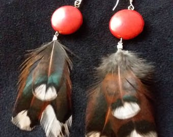 Feather earrings red stone and feather boho earrings silver gift for her