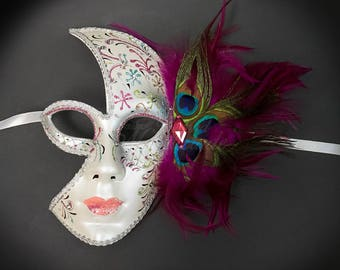 Masquerade Mask,  Masquerade Ball Mask, Feather Masquerade Mask, Feather Mask, Pink Feathers