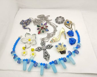 Blue Collection of  Jewels  Brooch Necklaces  and Clip Earrings  Ready to Wear Packed in a Brighton tin 12 pieces