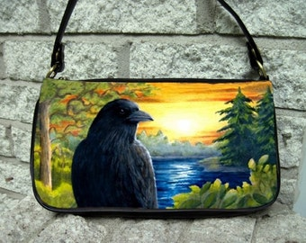 Clutch or Sling Bag Purse Bird 63 Crow Raven Sunset from art painting L.Dumas