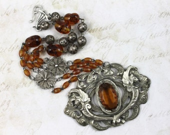 Vintage Assemblage Art Nouveau Statement Necklace, Griffin Dragon Assemblage Necklace, Art Nouveau Amber Necklace, Vintage Rosary Necklace