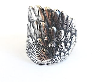 Steampunk Angel Wing Ring- Unisex- Adjustable- Sterling Silver Ox Finish