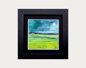 oil painting abstract landscape + artistic textile! 10x10 cm series 10/20