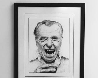 Charles Bukowski Portrait. The piece is called 'The Glory of Madness'.