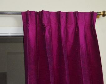 Megenta colored silk drapes in rich raw silk / dupioni silk