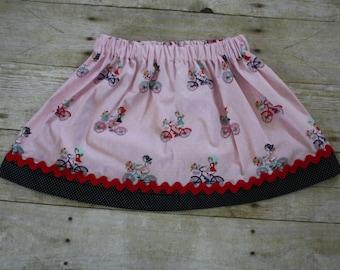 Girls skirt, Girl on bike print skirt