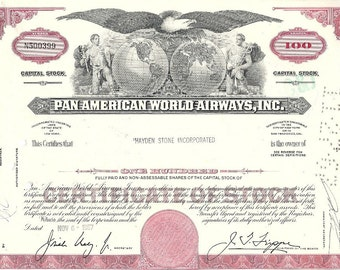 Pan American World Airways Stock Certificate (red),100 Shares, 1960's