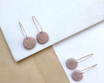 Rose gold earrings, polymer clay jewelry, hoop earrings, statement earrings, minimalist earrings, dangle earrings, hoops, pink earrings