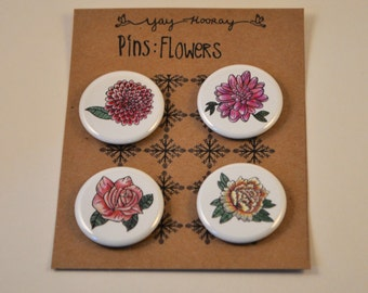 Flowers, pin button badges, magnets, rose, hand drawn illustrations