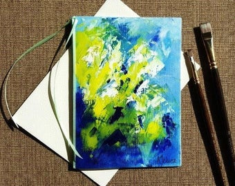 Colorful birthday card Hand painted card Hand made greeting card Abstract painting card Hand painted greeting card on canvas Blank card 5x7""