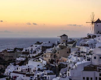 Santorini Sunset - Santorini - Oia - Santorini Photography - Oia Print - Greece - Fine Art - Wall Art - Home Decor - Soft Sunset - 0171