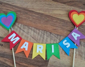 Rainbow Cake bunting, Rainbow heart cake topper, Baby shower, First birthday, Flag bunting, Cake banner, Multi coloured, personalised