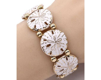 Gold Sand Dollar Stretch Bracelet with White Accent, Womans Beach Summer Ocean Nautical Sea life Fashion Jewelry