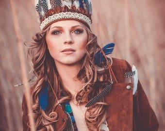 Natural bohemian feather headband