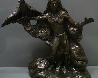SALE!!!Hawk Hunter--Native American Indian Figurine--Heirloom Quality--Hand-painted Ceramic--Home Decor--Native American Art