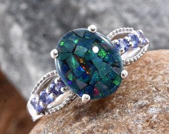Austraqlian Mosiac Opal Ring - Size 9