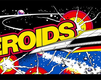 "Asteroids Marquee, Arcade, 12 x 36"" Video Game Poster, Print"