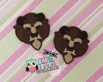 Set of 4 Beast Feltie, Felt Appliques, Felt Embelishment,