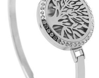 Nature's Tree of Life Bangle Bracelet with Crystal Studs for Aromatherapy in Style 316 Stainless Steel