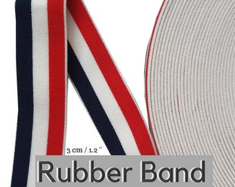 Blue Red White Striped Rubber Elastic Band Trim, Luxury Brand Elastic Rubber Trim
