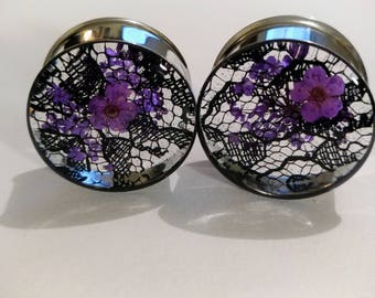 """Bright PURPLE Real Dried Flowers with Black Lace Handmade Plugs sizes 0g (8mm) to 2"""" (51mm) in single flare or double flare sold in pairs"""