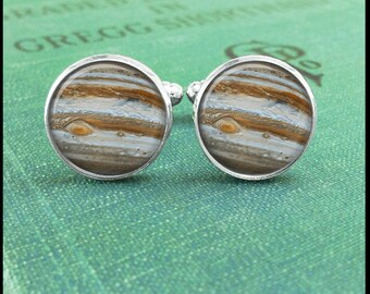 Galaxy Cufflinks, Jupiter Cufflinks, Planet  Cufflinks, Jupiter Cufflinks, Outer Space Cufflinks, Universe Cufflinks, Unique Gift Idea