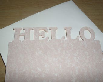HELLO Die Cut Writing Paper and Envelope 20 piece Set - Letter Writing Set - Stationery Set - Peach - 10 Paper - 10 Envelopes