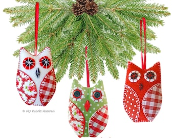 OWL Christmas Tree Decoration PDF Sewing PATTERN & Full Instructions Make Your Own 10 cm Tall