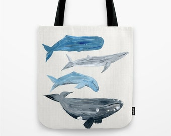 Whale Tote Bag, whale painting bag, nautical tote bag, large beach bag, small beach tote, beach tote bag, nautical beach bag, ocean bag