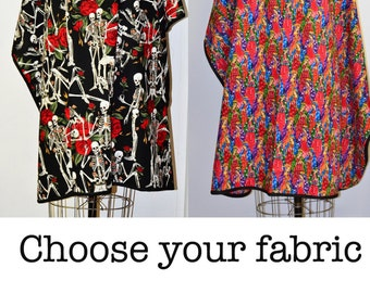 Edgy, Day of the Dead Hair Salon, MUA, or Barber Adult Cape Choose Fabric, Roses, La Virgen, Goth, or Folkloric