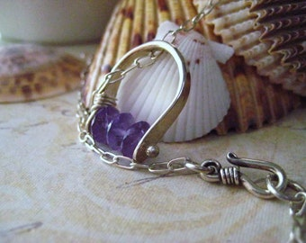 Amethyst Necklace, Brazilian Amethyst, Hand Forged, Sterling Silver, Purple Pendant, Womens Jewelry, Faceted Amethyst