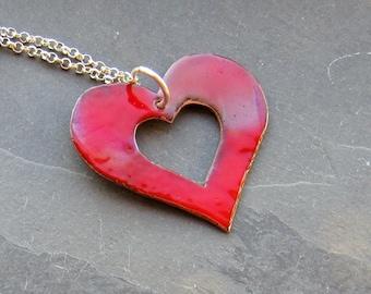Red Enamel Copper Heart Pendant Necklace (#0231)