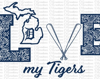 Love my Detroit Tigers Paisley Print LOVE Digital download file SVG, DXF, PnG