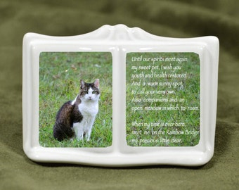 Cat Memorial - Mini Cat Urn - Cat Urn - Cat Photo Urn - Cat Ash Urn