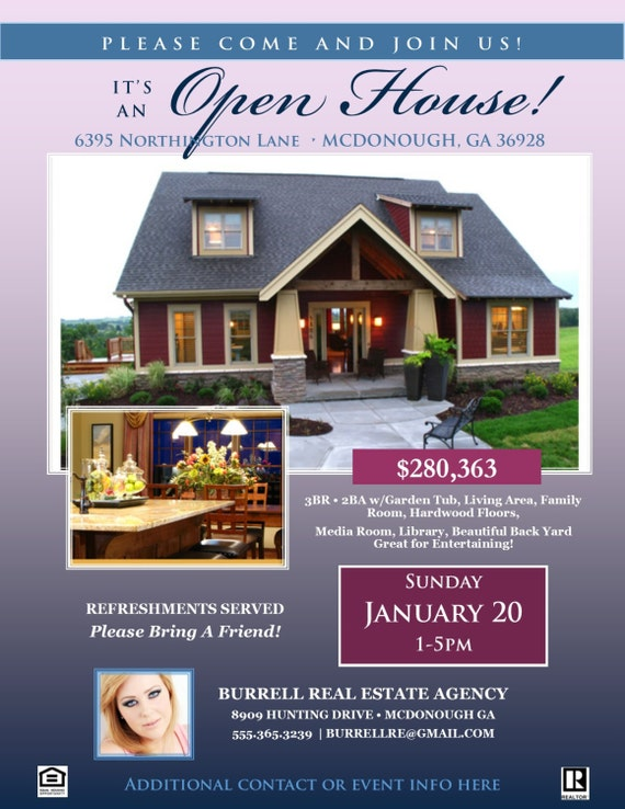 REAL ESTATE Open House FLYER Template Microsoft Publisher - Open house brochure template
