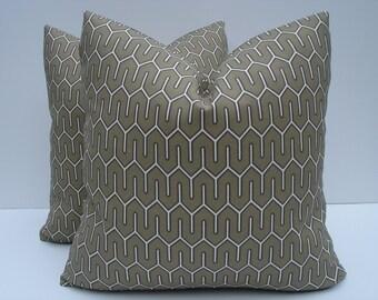 Outdoor Pillow Covers Indoor Outdoor Fabric Geometric Pillows One Pair 18 x 18 Pillows Beige Pillows Decorative Throw Pillows Toss Pillows