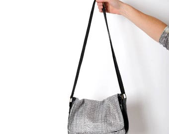 Silver messenger bag, Silver wool and black leather bag, shiny coated wool and varnished leather crossbody bag, Gift for her, MALAM