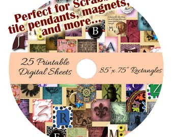 """CD 25 Printable Collage Digital Sheets - Scrabble Size .85"""" x .75"""" Rectangle Images for Pendants Magnets Scrapbooking"""