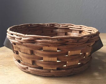 Vintage Pyrex Round Basket Wooden Basket Leather Handles Kitchen Fruit Storage Basket Pyrex Replacement Casserole Carry Basket
