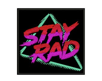 "3.9"" 80s 90s pop art fashion HUGE STAY RAD iron on patch Embroidered applique motif"
