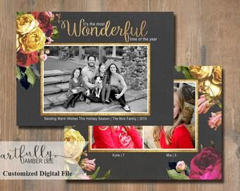 Printable Christmas Photo Card | Holiday Greeting Card | DIY Printable | Double Sided