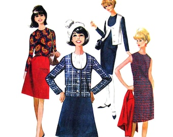 1960s Dress Blouse Skirt Jacket Vest Pattern McCalls 8089 Womens Coordinates Suit Bust 36 Vintage Sewing Pattern