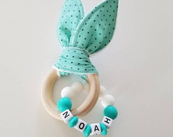 Bunny Teether, personalized teether, silicone teether, wooden teether,